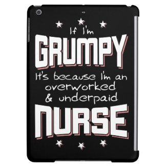 GRUMPY overworked underpaid NURSE (wht) iPad Air Cover