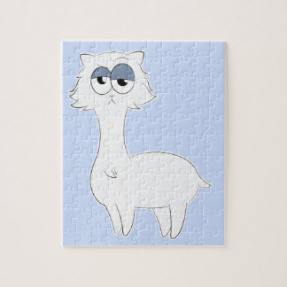 Grumpy Persian Cat Llama Jigsaw Puzzle