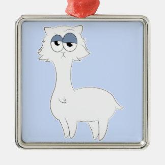 Grumpy Persian Cat Llama Silver-Colored Square Ornament