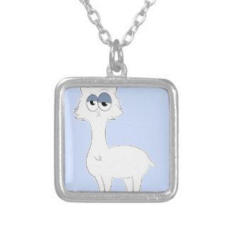Grumpy Persian Cat Llama Silver Plated Necklace
