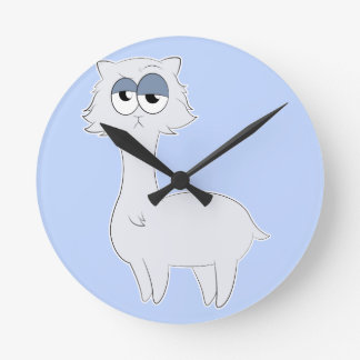 Grumpy Persian Cat Llama Wallclocks