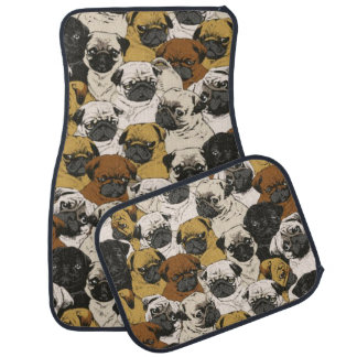 Grumpy Pugs / Funny Cute Pug Dogs Puppies Pattern Car Mat