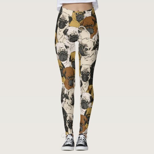 Grumpy Pugs / Funny Cute Pug Dogs Puppies Pattern Leggings