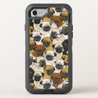 Grumpy Pugs / Funny Cute Pug Dogs Puppies Pattern OtterBox Defender iPhone 8/7 Case