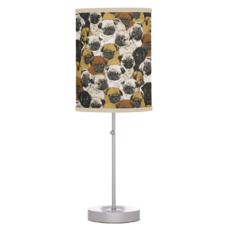 Grumpy Pugs / Funny Cute Pug Dogs Puppies Pattern Table Lamp