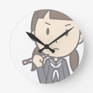 Grumpy Student Round Clock