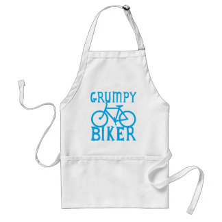 GRUMY BIKER with bicycle in blue Aprons