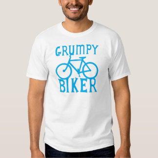 GRUMY BIKER with bicycle in blue T-shirts