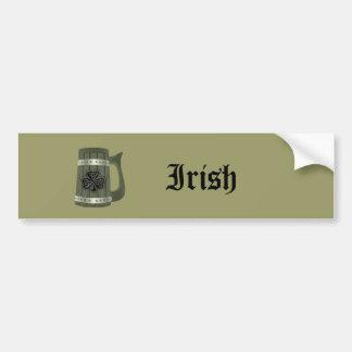 Grundge beer mug Irish lucky shamrock Bumper Sticker