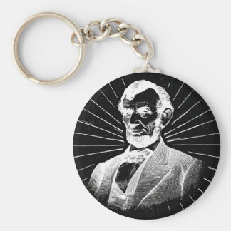 grunge abraham lincoln basic round button keychain
