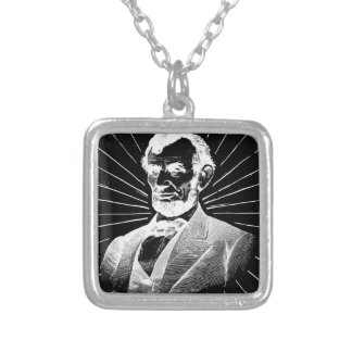 grunge abraham lincoln silver plated necklace