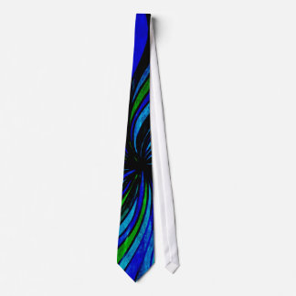 Grunge Abstract in Blue and Lime Green Tie
