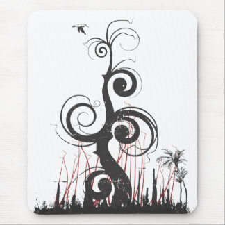 Grunge Abstract Trees Mouse Pad