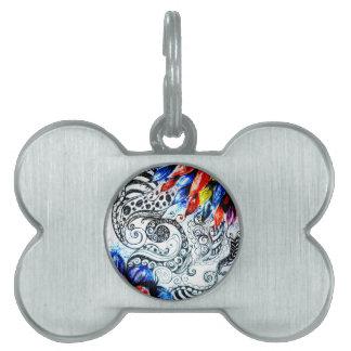 Grunge Acrylic Flowers Pet ID Tags