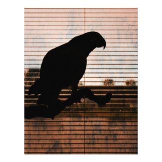Grunge African Grey Parrot Silhouette Custom Letterhead