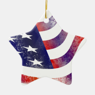 Grunge American Flag Ceramic Ornament