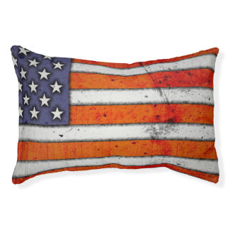 Grunge American Flag Dog Bed