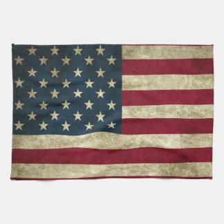 Grunge American Flag Kitchen Towel