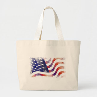 Grunge American Flag Large Tote Bag
