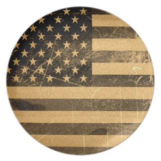 Grunge American Flag Party Plates