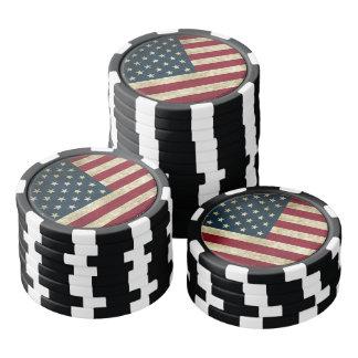 Grunge American Flag Poker Chips