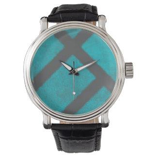 Grunge Aqua Blue and Gray Minimalist Pattern Watch