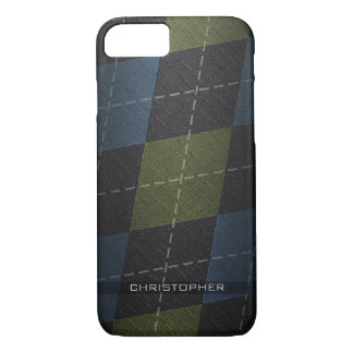 Grunge Argyle Plaid Pattern with name iPhone 8/7 Case