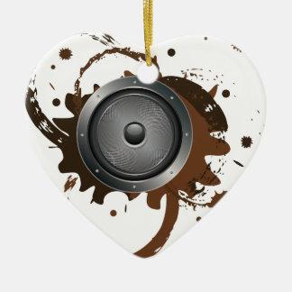 Grunge Audio Speaker 2 Ceramic Heart Ornament