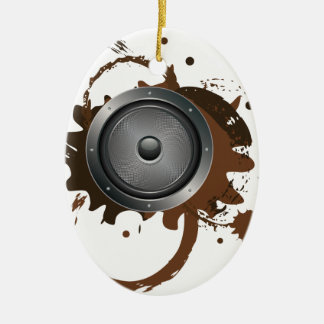 Grunge Audio Speaker 2 Ceramic Oval Ornament