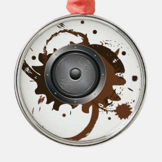 Grunge Audio Speaker 2 Silver-Colored Round Ornament