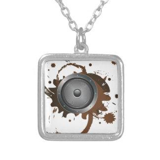 Grunge Audio Speaker 2 Silver Plated Necklace