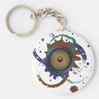 Grunge Audio Speaker 3 Basic Round Button Keychain