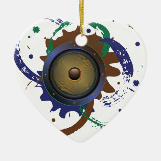 Grunge Audio Speaker 3 Ceramic Heart Ornament