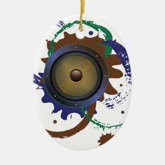 Grunge Audio Speaker 3 Ceramic Oval Ornament