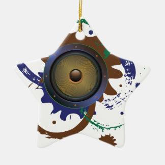 Grunge Audio Speaker 3 Ceramic Star Ornament