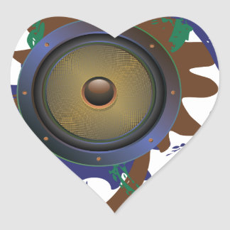 Grunge Audio Speaker 3 Heart Sticker
