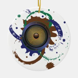 Grunge Audio Speaker 3 Round Ceramic Ornament