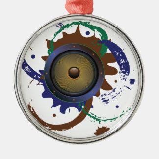 Grunge Audio Speaker 3 Silver-Colored Round Ornament
