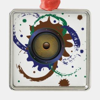 Grunge Audio Speaker 3 Silver-Colored Square Ornament
