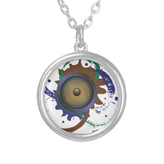 Grunge Audio Speaker 3 Silver Plated Necklace