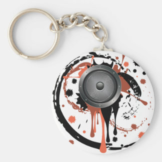 Grunge Audio Speaker Basic Round Button Keychain