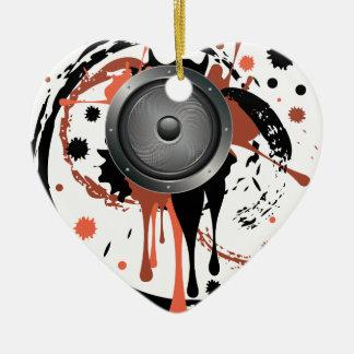 Grunge Audio Speaker Ceramic Heart Ornament