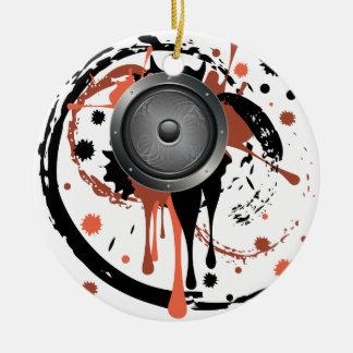 Grunge Audio Speaker Round Ceramic Ornament
