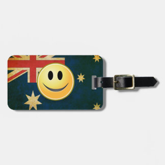 Grunge Australian Flag Smiley Face Luggage Tag