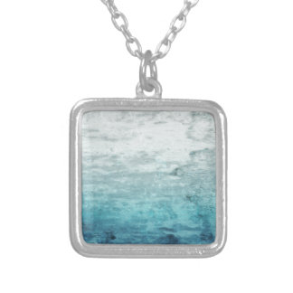 Grunge backward vintage wooden texture silver plated necklace