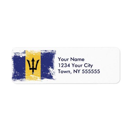 Grunge Barbados Flag Return Address Label