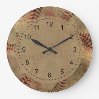 Grunge Baseball Collage Large Clock