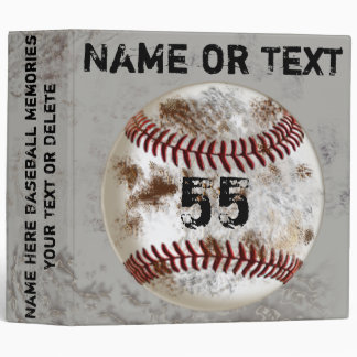Grunge Baseball Gifts for Players PERSONALIZED 3 Ring Binder