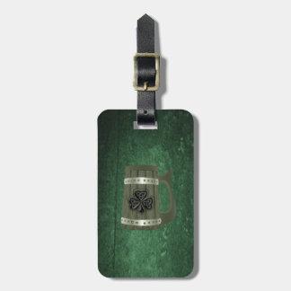 Grunge beer mug Irish lucky shamrock personalized Luggage Tag