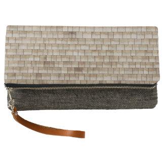grunge beige wood wall texture clutch
